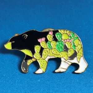 Jewelry - Bear with Cacti Enamel Pin Brooch Gold Tone